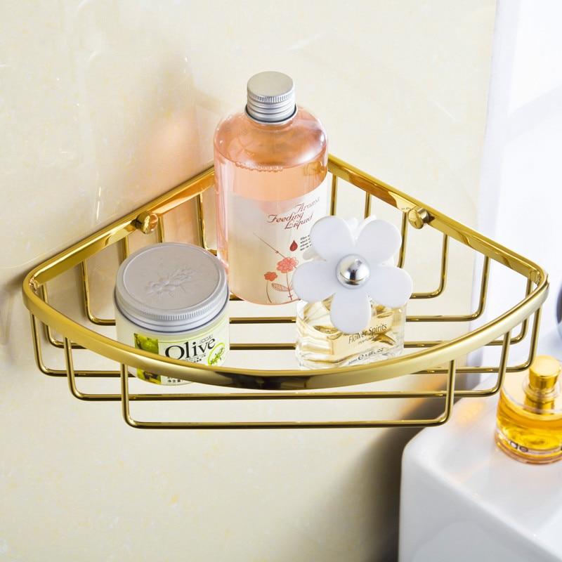 Латунная полка для ванной комнаты, Золотая угловая полка для ванной комнаты, позолоченный Подвесной Настенный аксессуар для ванной комнаты