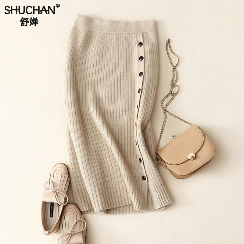 Shucha Winter Sexy Chic Pencil Skirts Buttons Skirt 100% Pure Cashmere Skirt  Knit Long Skirt Thick Warm Hip Split High Waist