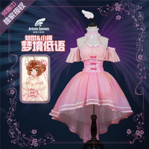 Anime cosplay traje cardcaptor cartão claro kinomoto sakura sakura gelo anjo sakura lo rosa vestido lolita cosplay um