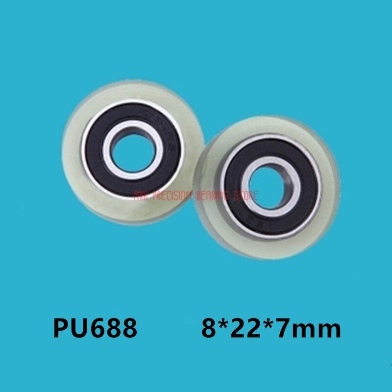 محمل مطاطي من مادة البولي يوريثين ، بكرة مطاطية صغيرة 8*22*7 مللي متر ، عجلة بكرة درج 688