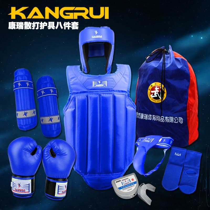 Free combat Sanda full set 8 pieces protector Taekwondo Karate sport shin guard helmet body protector groin guard chest guard