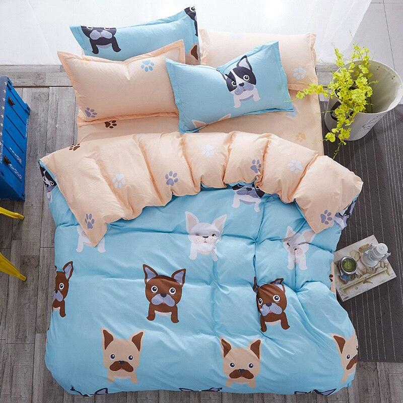 Современный стиль, французская собака, 3d королева, полный размер, модное одеяло, покрывало, наборы, king size, плоская кровать/наволочки, housse couette