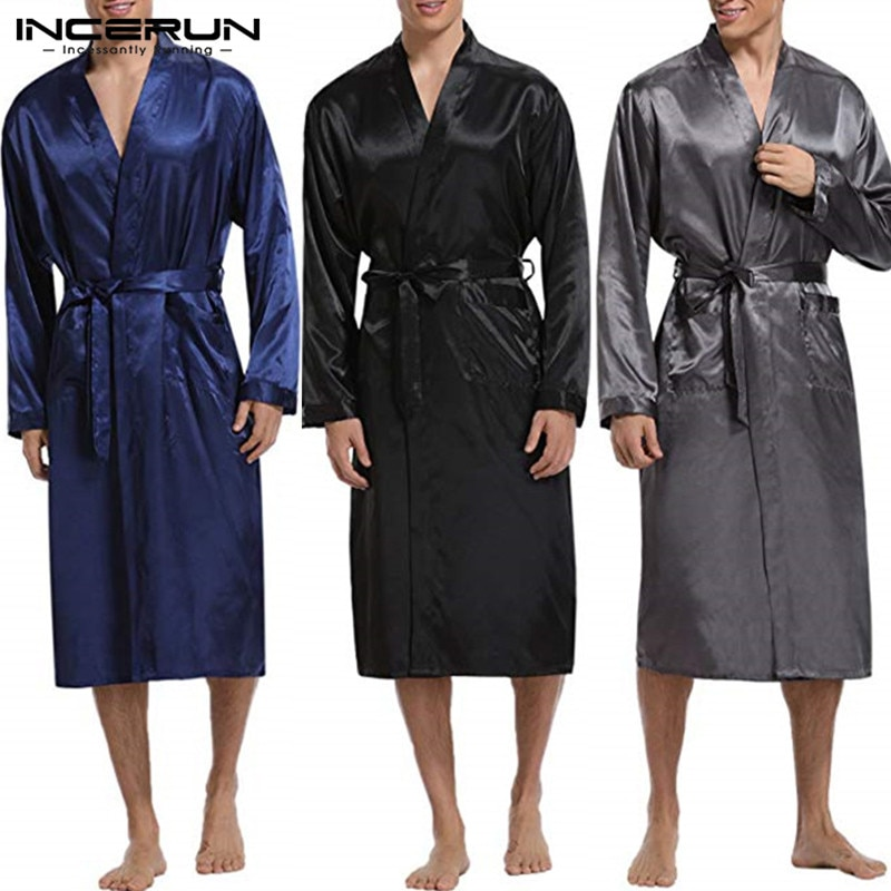 INCERUN, bata para hombre, Albornoz largo, seda satinada, manga larga sólida, ropa de dormir para hombre, Kimono 2020, pijamas para hombre, ropa interior ligera 3XL