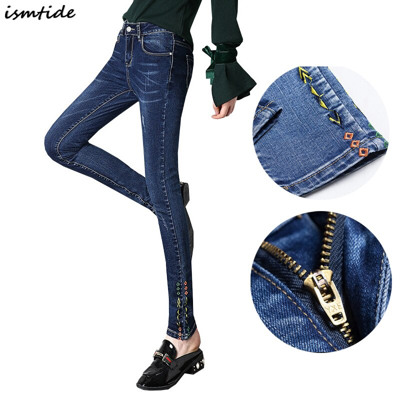 Full Length Trousers Women Slim Fashion Denim Blue Elastic Skinny Jeans Female Pencil Pants Woman Jeans New Plus Size Jeans