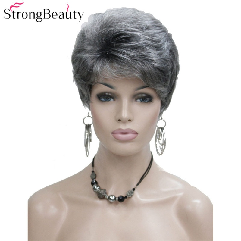 StrongBeauty Pelo Corto sintético ondulado Natural Rubio/gris plateado pelucas con flequillo para mujeres varios colores a elegir