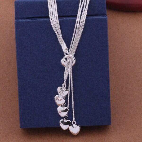 Collar de plata de ley AN438, venta al por mayor, color plata, color plata, colgante de joyería de moda/arcajija axhajooa