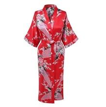 Hot Sale Red Chinese Women Silk Rayon Robe Dress Bridemaids Sexy Wedding Nightgown Kimono Bathrobe Size S M L XL XXL XXXL A-108