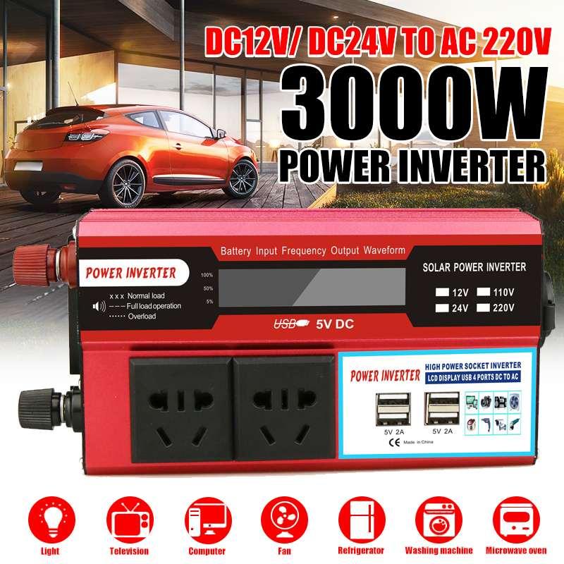 4 USB LCD Display 3000W Watt DC 12/24V a AC 220V portátil coche inversor de energía convertidor adaptador modificado sinusoidal