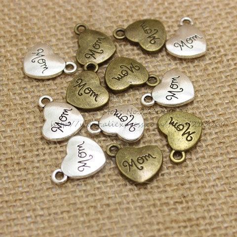 Lettres antiques à gravure en forme de cœur, 14x17mm, 30 pièces/lot, T0204