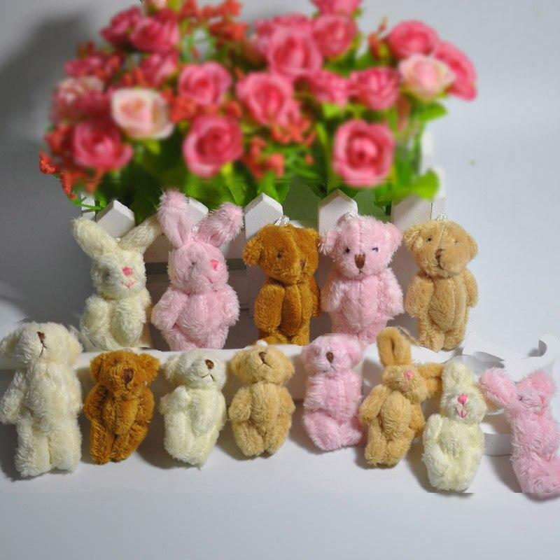 4,5 cm 6cm encantador peluche largo mini articulación oso de peluche pequeño conejo colgante llavero/bolsa/adorno Dolls muñecas de peluche