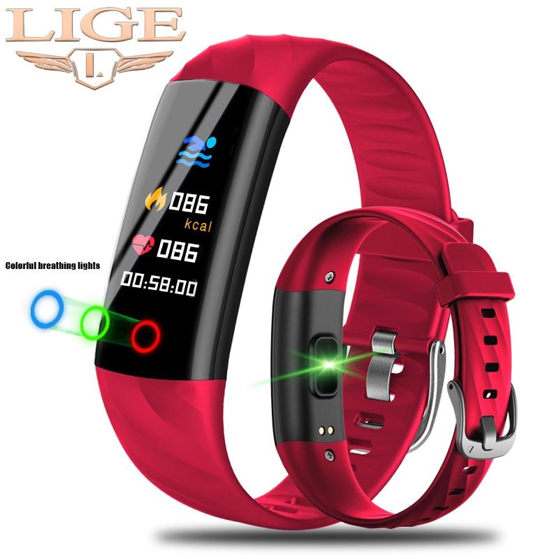 LIGE Smart Watch Women IP68 Waterproof Sport Bracelet Smart Fitness Tracker Blood Pressure Heart Rat