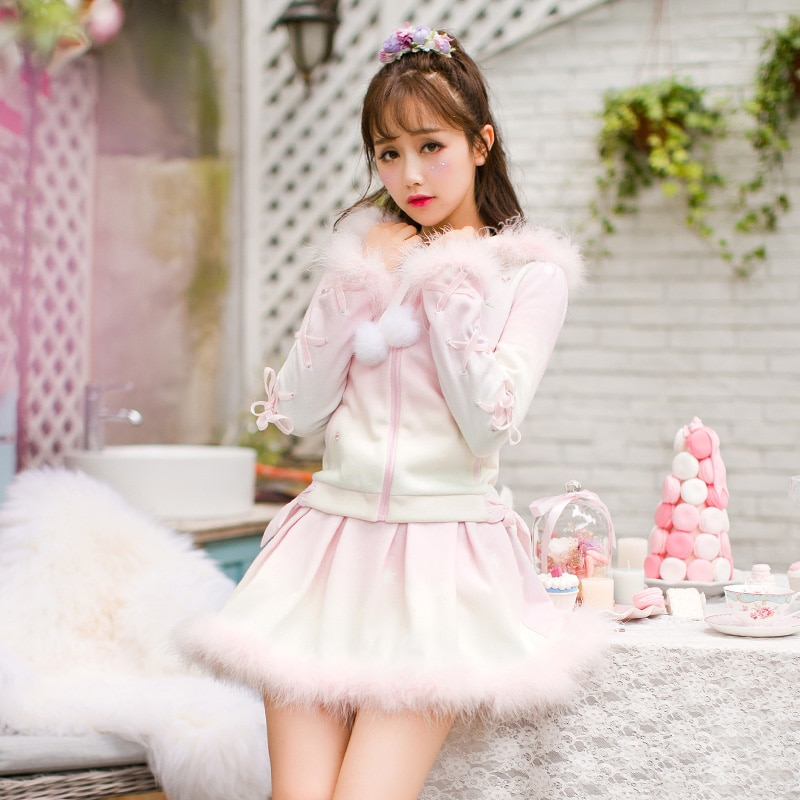 Princesa dulce lolita Rosa falda caramelo lluvia felpa falda Bouffancy impresión pluma dulce ajustado falda no incluidingtop C16CD6160
