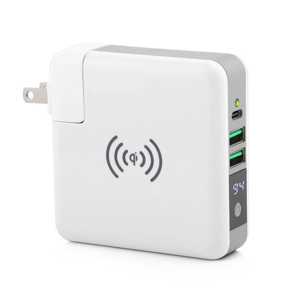 Cargador inalámbrico 3 en 1 QI tipo C 2 USB viaje enchufe banco de energía con pantalla Digital para iPhone 8 Xs Max XR Samsung VIVO