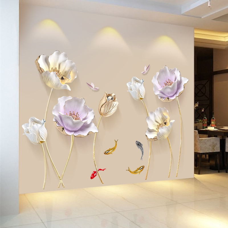 Papel tapiz 3D de flores de estilo chino, pegatinas de pared para sala de estar, dormitorio, baño, decoración del hogar, póster decorativo