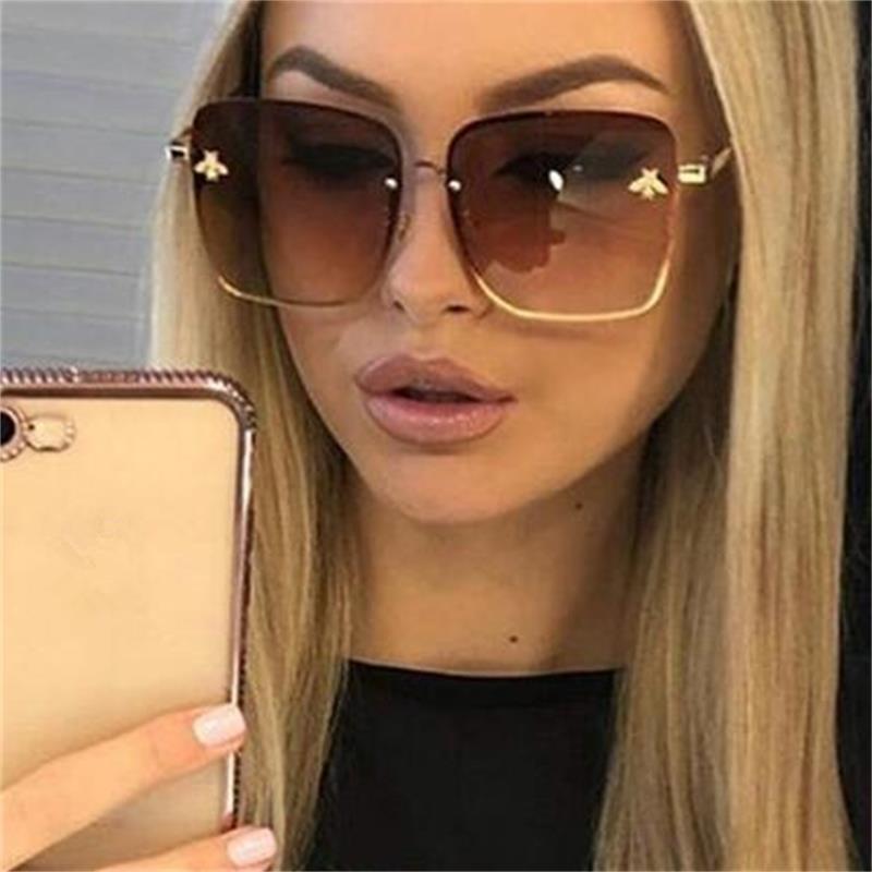 Brand Designer Oversized Square Sunglasses Women Men Luxury Metal Frame Bee Sun Glasses Male Driving Grandient Shades UV400