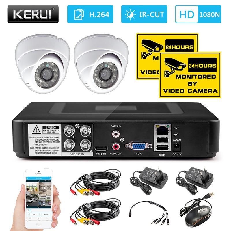 KERUI 4CH sistema de cámara CCTV de Seguridad para el hogar 1200TVL interior DVR Kit sistema de cámara de vigilancia visión nocturna APP monitor Cámara