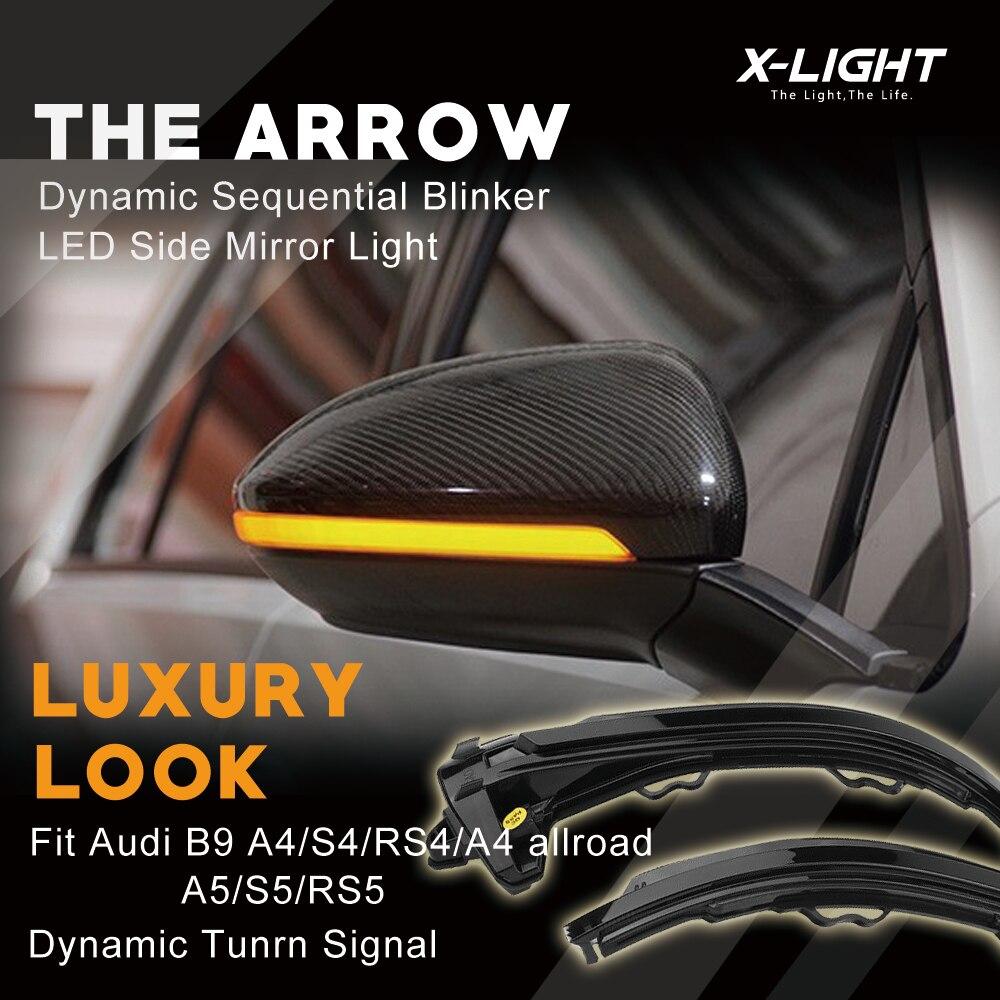 Luz LED de señal de giro de espejo secuencial dinámico de Vista trasera para Audi B9 A4 S4 RS4 A5 S5 RS5