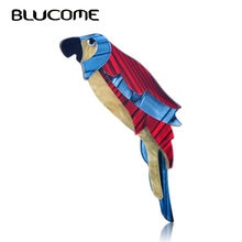 Blucome mode Style grand rouge bleu perroquet broche acrylique Animal bijoux hommes femmes enfant chandail manteau accessoires sac écharpe broches