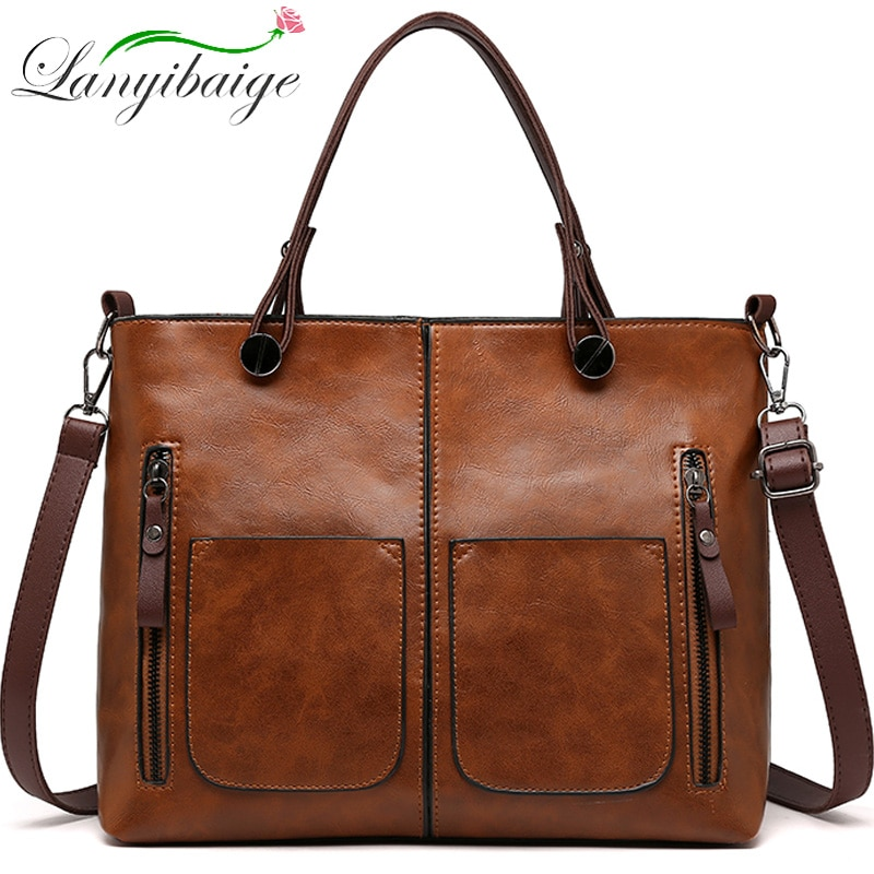 Vintage Womens Hand bags Double Pocket Designers Luxury Handbags Shoulder Bags Female Top-handle Bags Sac a Main Brand Handbags