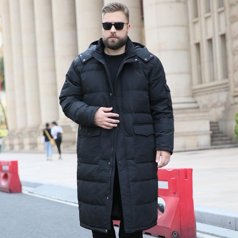 175 kg Nova eiderdown casacos de inverno dos homens grandes estaleiros com capuz collar casaco alongado over-the-knee baixo casacos masculino manter roupas quentes