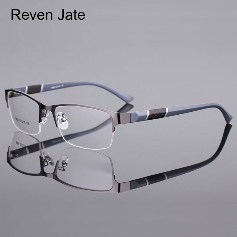 Half Rim Alloy Prescription Glasses Flexible Plastic TR-90 Temple Legs Optical Myopia Prescription E