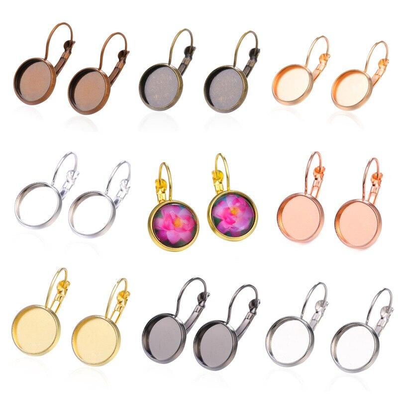 JUYA 10pcs/lot 12mm Earring Hooks Round Cabochon Cameo Blank Base Settings Earrings Bezels DIY Jewelry Making Findings Handmade