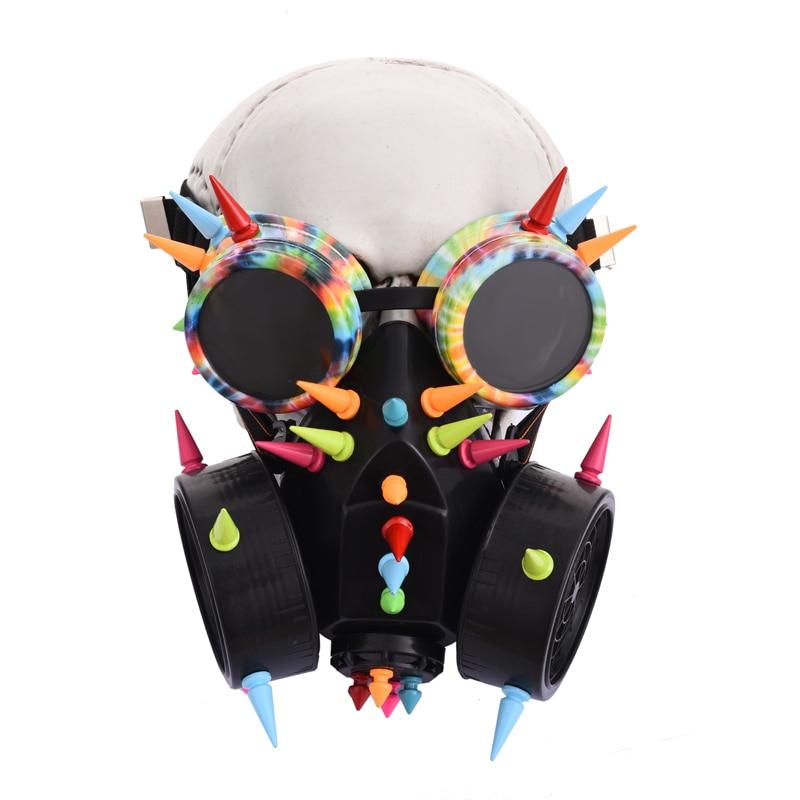 Ретро Мужские и женские цветные очки с заклепками, противогаз для косплея, готические скальные шипы, очки, респираторы, костюмы с масками, ак...