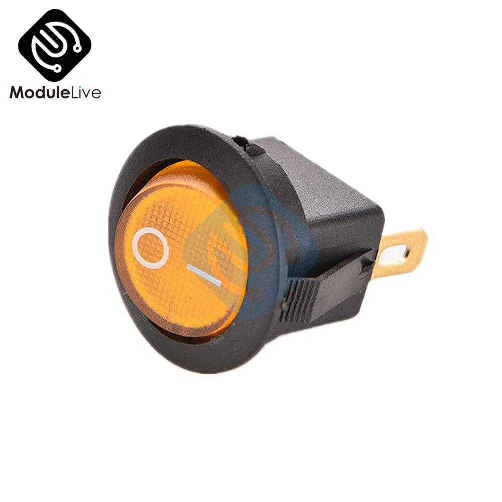 5 uds Mini interruptor basculante amarillo redondo de 3 pines SPDT ON-OFF Snap-in 6A 250V 10A 125V 1500VAC durante 1 minuto 10.000 ciclos
