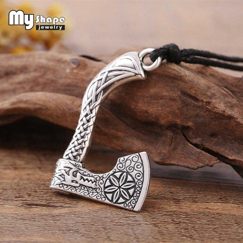 Mi forma Vintage hecho a mano nudo vikingo legendario Mammen hacha amuleto colgante collar hacha Sekira vikingo nórdico collar
