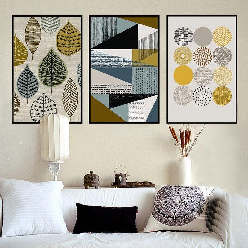 Cuadro sobre lienzo para pared cuadro Modular con diseño decorativo geométrico abstracto para sala de estar sin marco