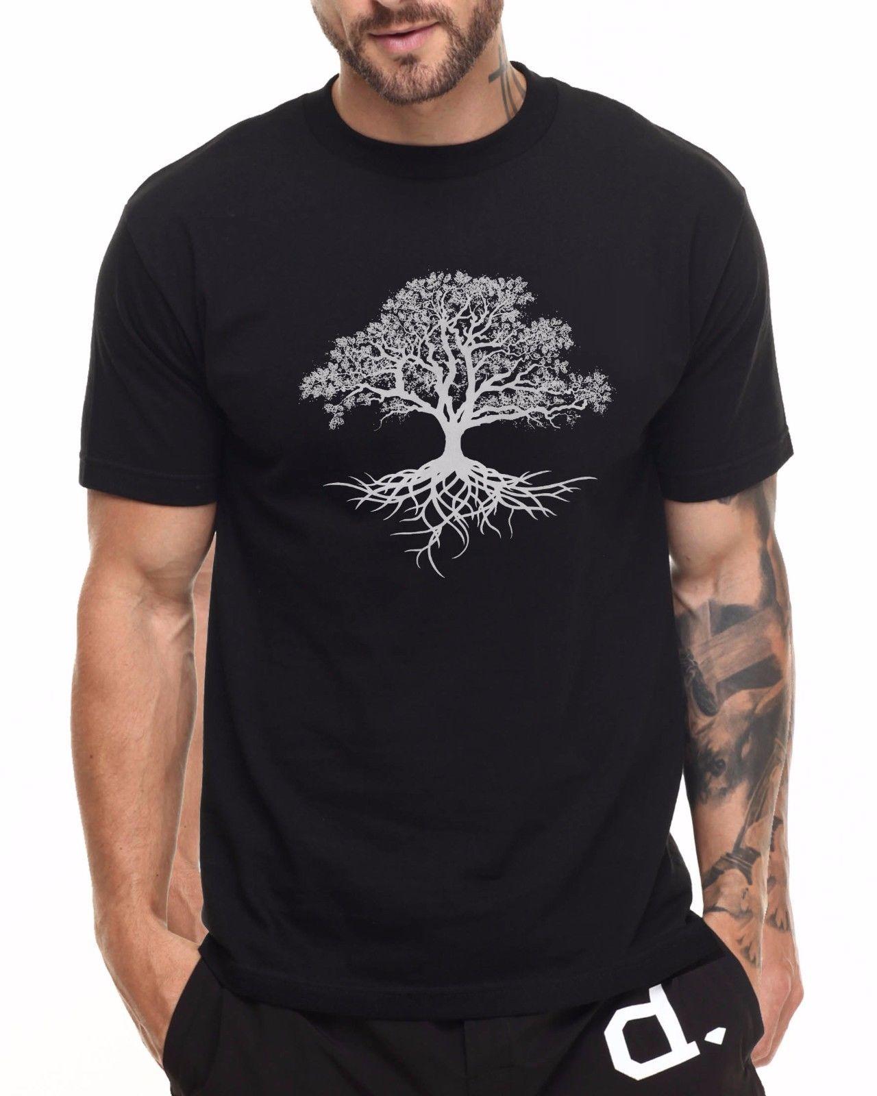 Árbol de la vida T SHIRT WICCA druida jardín pagano mangas cortas algodón moda envío gratis Camiseta 100% camisetas de algodón