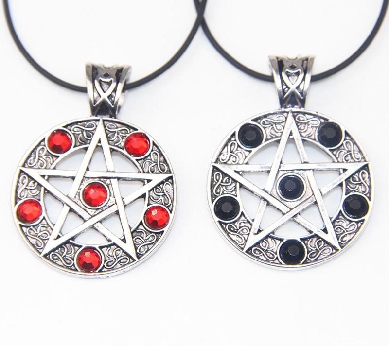 ZRM Fashion Vintage Supernatural Black Red Lucifer Satan Witch Protect Star Amulet Pentagram Pendant Necklace Jewelry Men Women