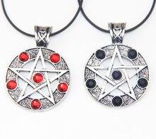 Zrm Mode Vintage Supernatural Zwart Rood Lucifer Satan Heks Beschermen Ster Amulet Pentagram Hanger Ketting Sieraden Mannen Vrouwen
