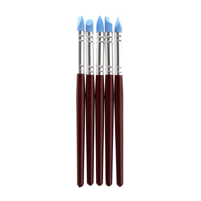 Herramientas de modelado con detalle de eliminación de huellas dactilares de cerámica de arcilla polimérica de silicona de 5 uds. Herramientas para arcilla