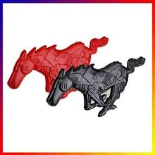 3D лошадь автомобиля металлический сплав передний капот решетка тела эмблема наклейка для Ford Mustang красный/черный