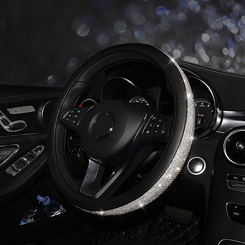 Decoração capa de volante carro 38cm preto acessório couro + strass