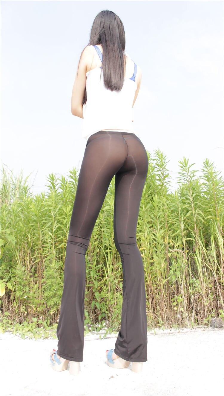 Nuevo de seda de hielo Sexy ver a través de Capris mujeres transparente puro Long Flare Casual brillante pantalones polainas ropa interior
