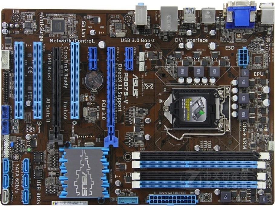 Used,Asus P8B75-V Original Used Desktop Motherboard Intel B75 Socket LGA 1155 i3 i5 i7 DDR3 32G SATA3 USB3.0 AT,100% tested good