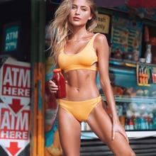 Cupshe jaune plume fil solide Bikini ensemble plaine évider rembourré deux pièces maillots de bain 2020 femmes Sexy string maillots de bain