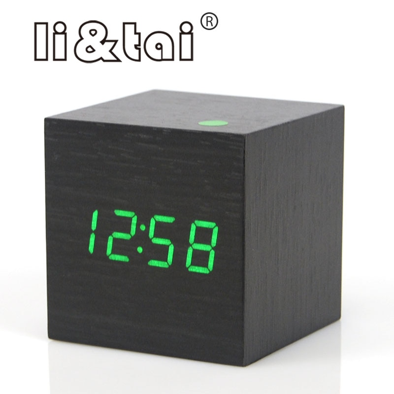Cute Cube Wooden LED Alarm Clock LED Display Electronic Desktop Digital Table Clocks Wooden Digital Alarm Clock USB/AAA Powered
