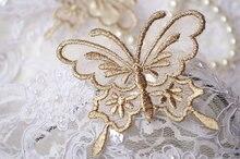 Applique papillon en or 50 pièces   applique de dentelle papillon en métal doré