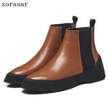 {Zorssar} 2019 New Fashion Vintage Women Ankle Boots Platform Genuine Leather Flat Women shoes Winter Boots Warm Woman Footwear
