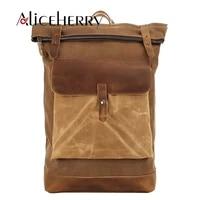 man canvas leather backpack vintage high capacity laptop cowhide backpacks men women backpack school bags for male mochila