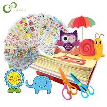 96 Pcs/48 Pcs Kinder Cartoon Farbe Papier Falten und Schneiden Spielzeug Kind Kingergarden Kunst Handwerk DIY Pädagogisches Spielzeug freies Verschiffen GYH