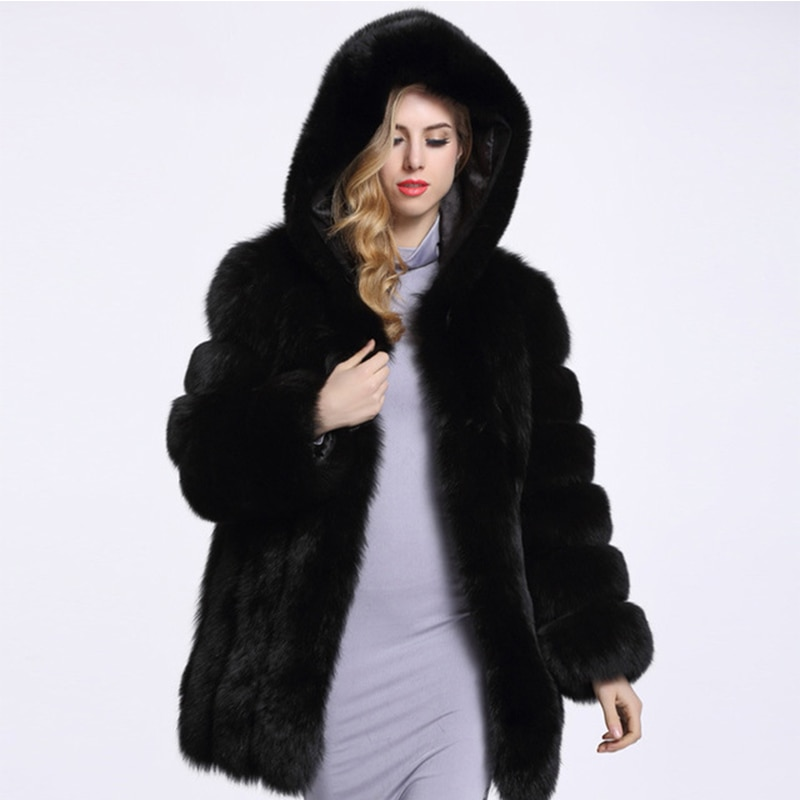 2019 Winter Thick Warm Women's Artificial Fur Coat Hooded Faux Fur Coat Female High Imitation Fox Fur Jacket Long Coat 4XL PC253