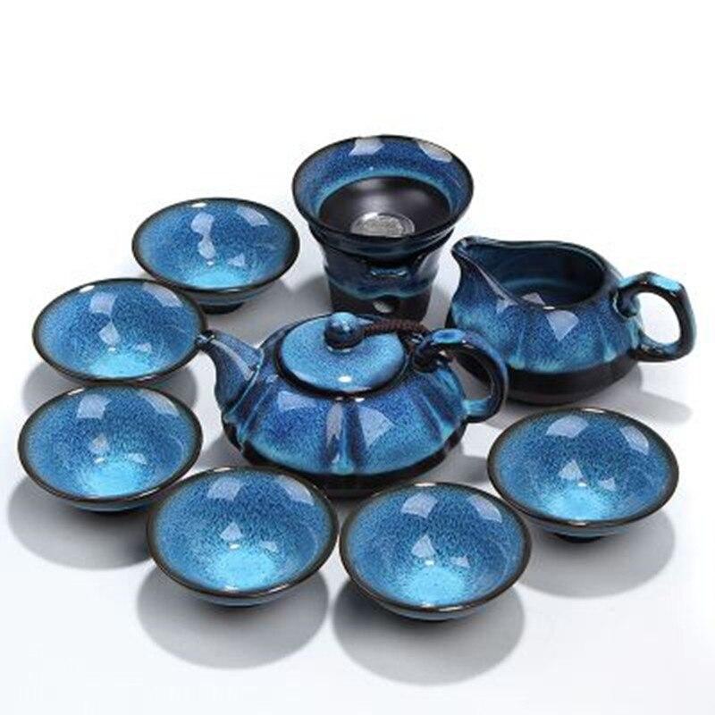 [1 Teapot+1 Filter+1 Fair cup+6 Cups] Authentic 9 Pcs KungFu Tea Set Blue Amber glaze Zisha Ceramics/Porcelain Tea Ceremony Gift