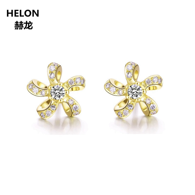 Solid 14k Yellow Gold Earrings for Women 0.15ct Natural Diamonds Stud Earrings Fine Jewelry Trendy Unique