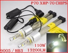 1 Set 9005 HB3 110W 13200LM P70 PHARE LED XHP-70 4LED PUCE Fanless Super Mince Conversion Kit Conduite Brouillard 55W 6600LM 5K 6000K