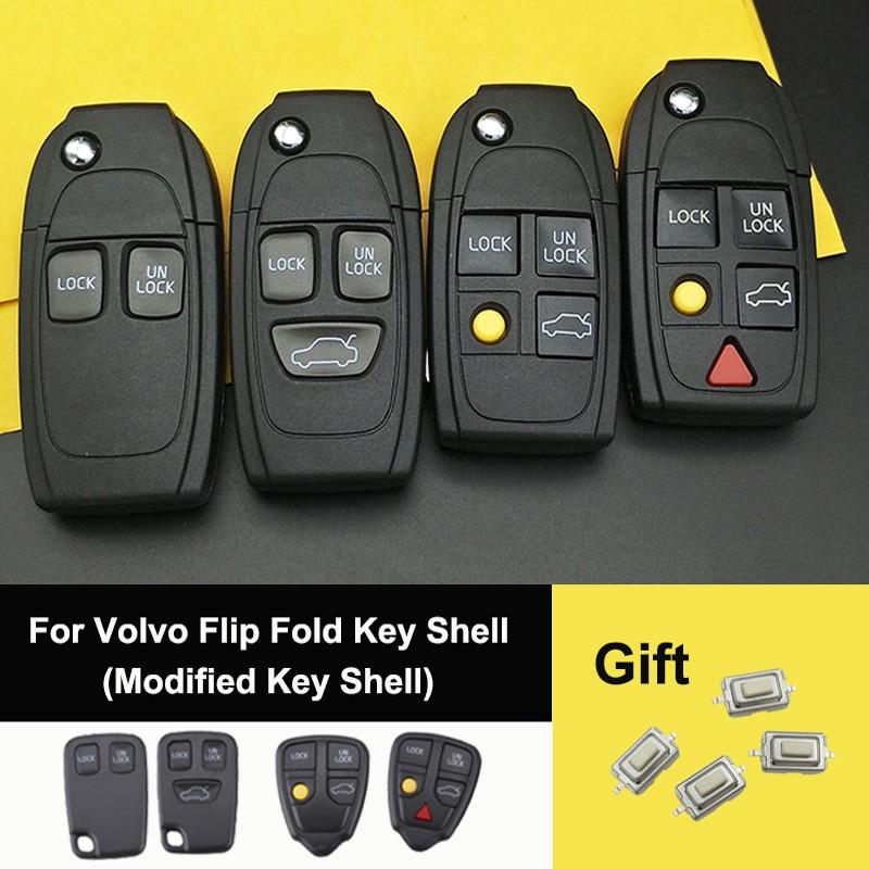 OkeyTech para Volvo S60 XC90 V50 S40 V70 S60 S70 S80 XC70 modificados plegable llave de coche funda carcasa NE66 hoja enviar interruptor