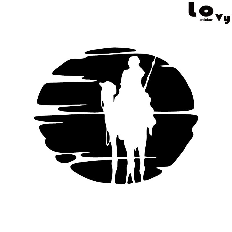Hombre montando un camello en el desierto vinilo coche adhesivo creativo dibujos animados Animal coche pegatina